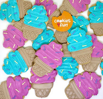 Biscoitos decorados sorvete